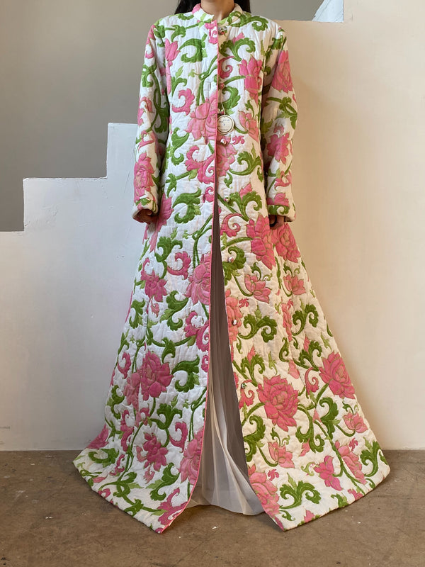 1960s Deadstock Floral House Coat - OSFM