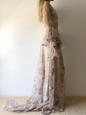 GOSSAMER Florence Embroidered Pearl Gown  - S/6