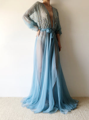 1970s Sheer Blue Chiffon Gown - S