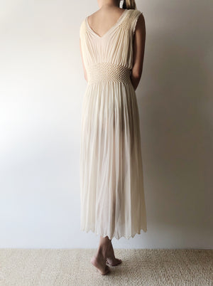 1930s Sheer Pleated Smocked Negligee - S