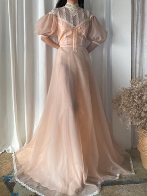Vintage Peach Puff Sleeve Gown - S