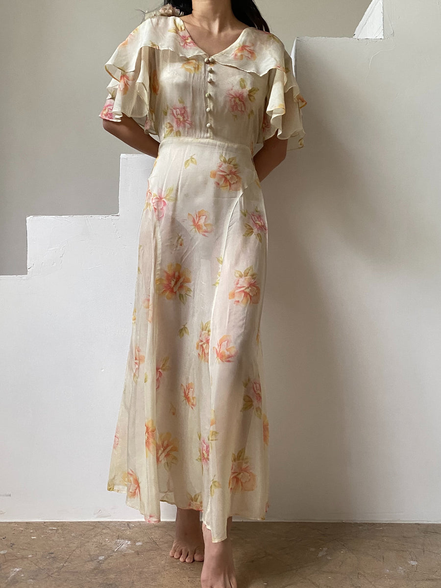 1930s/1940s Chiffon Floral Dress - S/M