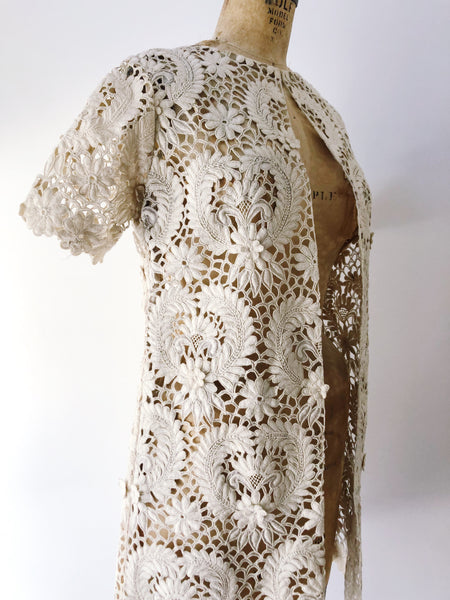 1950s Embroidered Cutout Lace Jacket/Duster - S