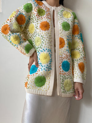 1950s Multi-Color Embroidered Cardigan - S/M