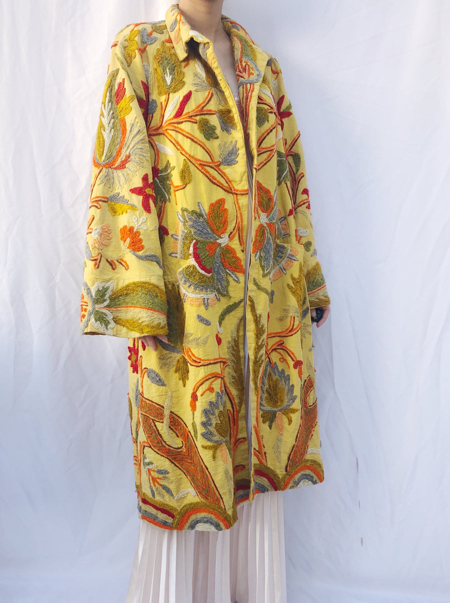 1940s Yellow Embroidered Wool Jacket - OSFM