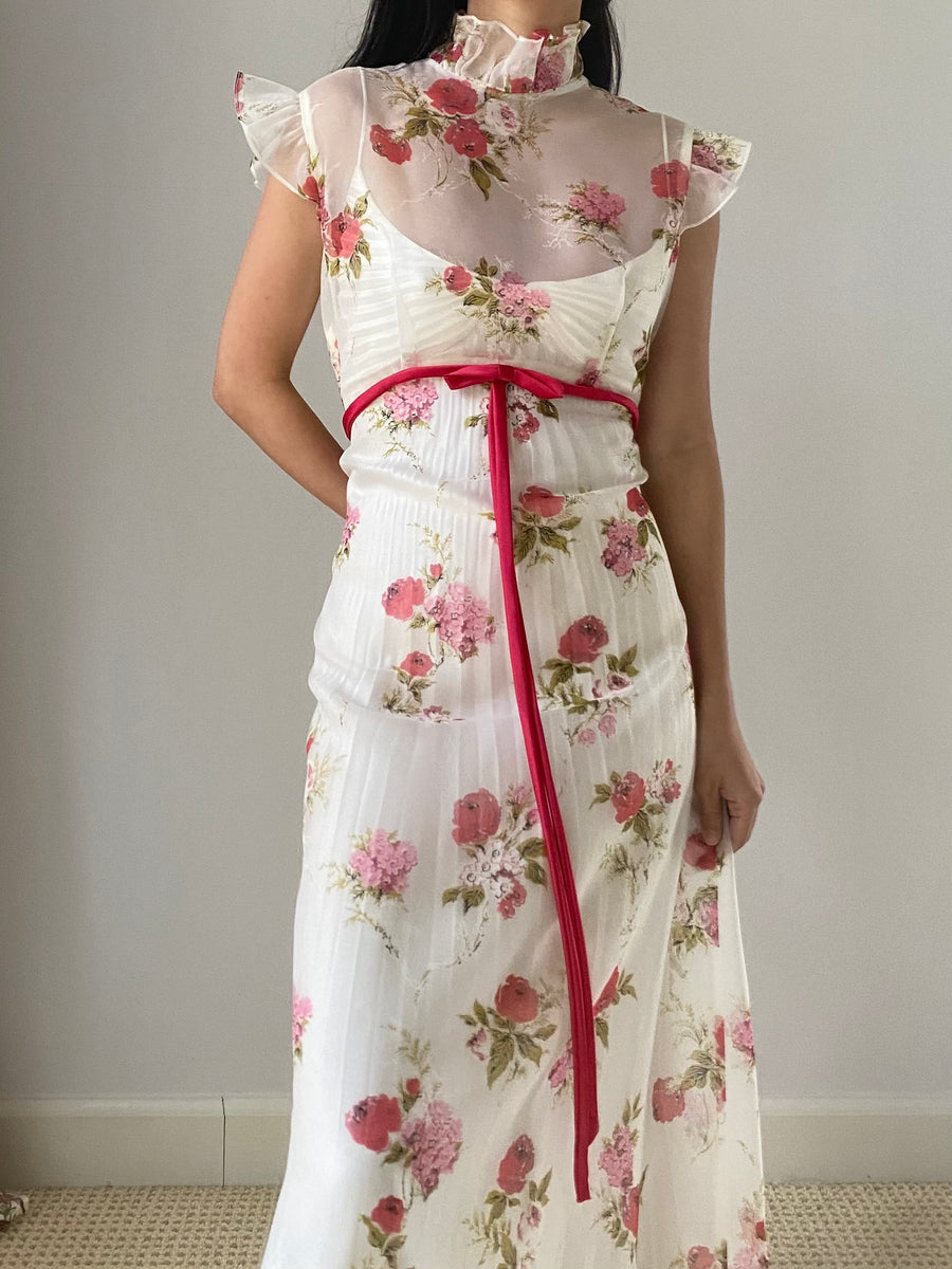 Vintage Sheer High Neck Floral Dress - S/M