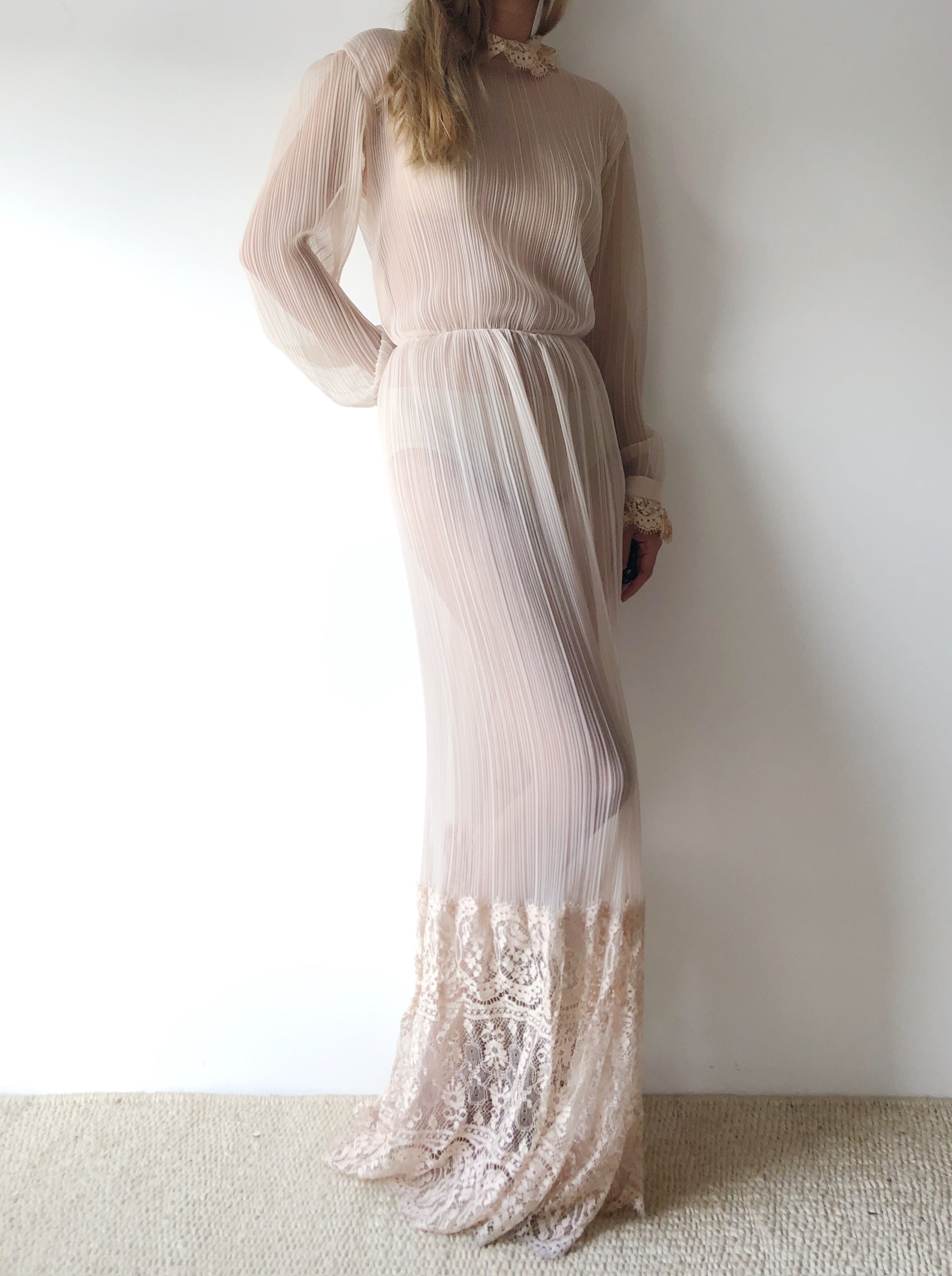 1960s Nude Micropleated Dress - S/M - G O S S A M E R