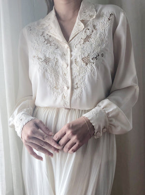 Vintage Silk Embroidered Blouse  - S/M