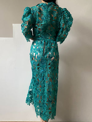 Vintage Emerald Green Floral Cutout Dress - M/L