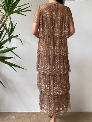 1960s Tiered Silk Lace Dress - S/M
