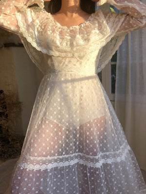 Vintage Flocked Sheer Dress -  XS/S