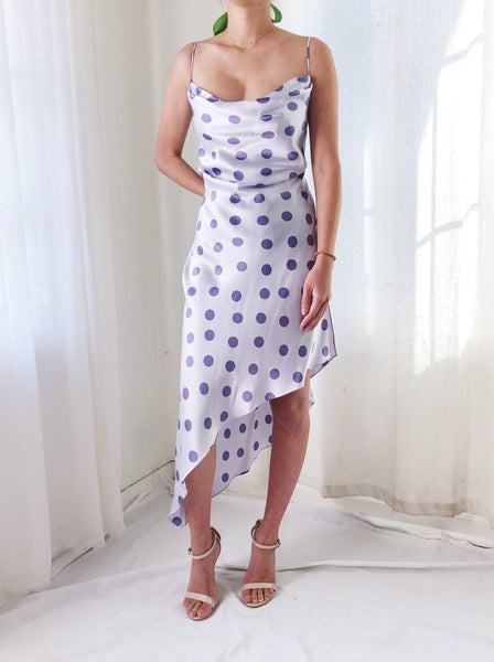 1980 Lavender Silk Dot Dress - S/M