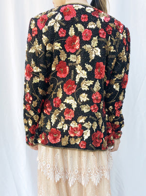 1980s Flowers Sequined Jacket - M