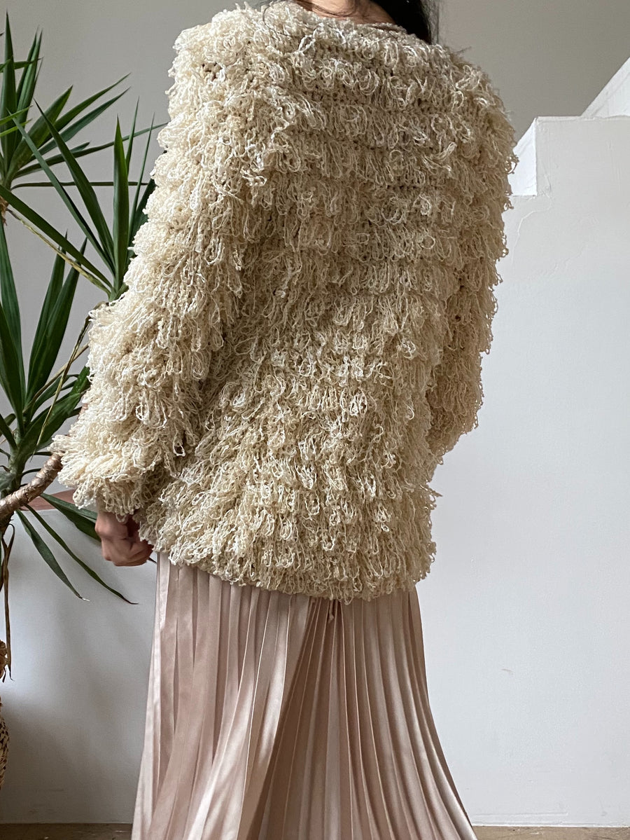 Vintage Ivory and Beige Shaggy Jacket - S/M