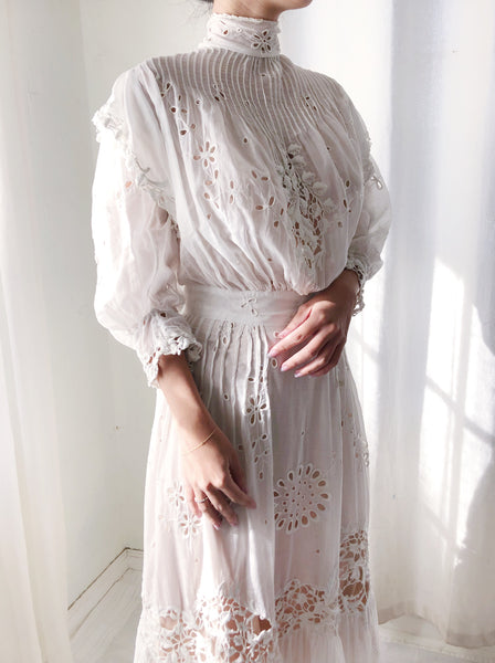 Victorian Cotton Muslin Embroidered Dress - XS/S