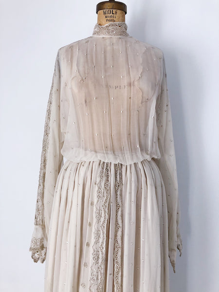 1970s Sheer Chiffon Cuffed Poet Sleeves Dress - M