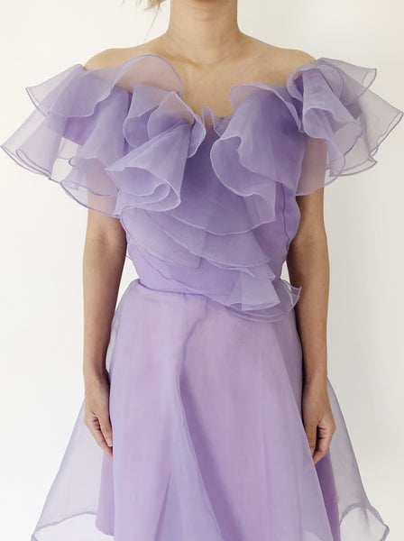 1980s Ruffled Chiffon Lilac Dress - S
