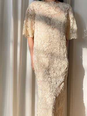 Vintage Alencon Lace Dress - M