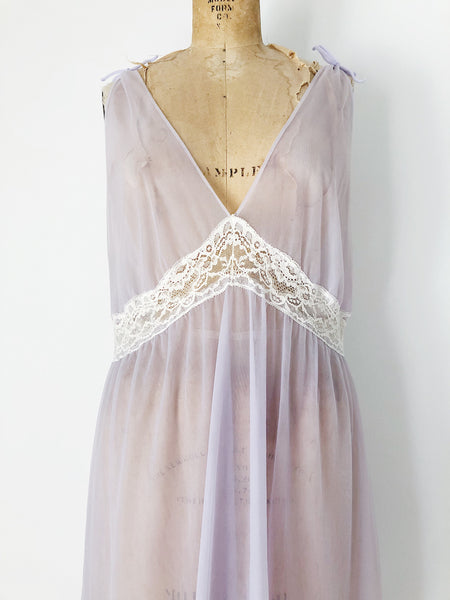 1960s Lavender Nylon Chiffon Sheer Slip Dress - M/L