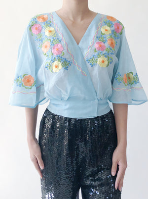 Vintage Cotton Embroidered Top - S/M