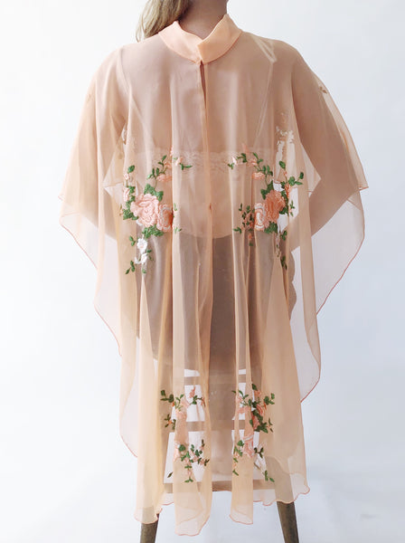 1970s Sherbet Orange Embroidered Short Caftan - One Size