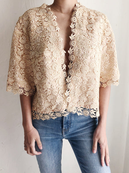 1940s Ecru Lace Jacket - M