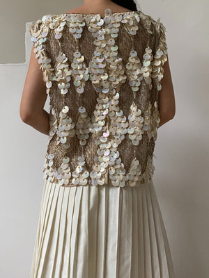 1960s Net Embellished Top with Large Sequins - M/L