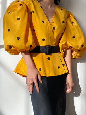 Vintage Yellow Puffed Sleeve Top - M
