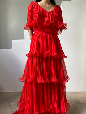 1960s Poppy Red Pleated Chiffon Dress - S