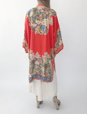 1920s Red Silk Floral Robe - One Size