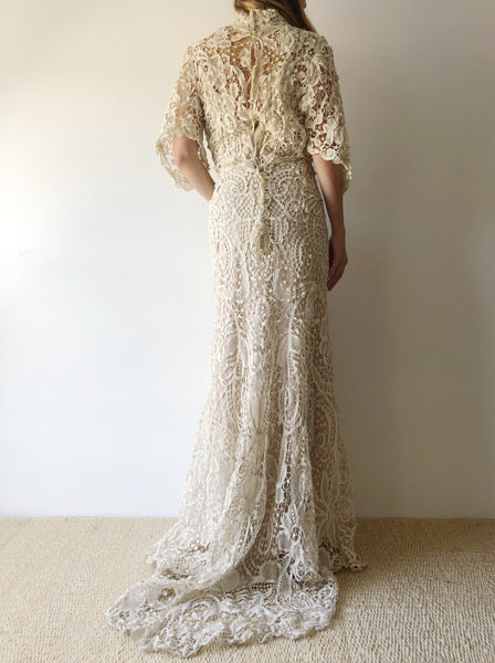 Antique Trained Crochet Battenburg Gown - S/M