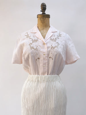 1950s Pink Linen Embroidered Top - S/M