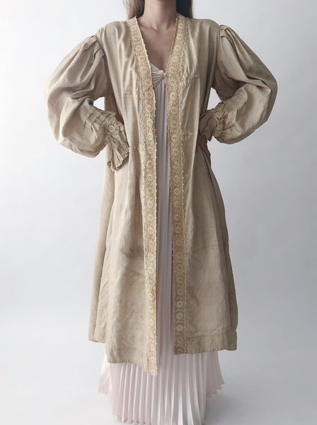 Antique Raw Silk and Linen Duster - One Size