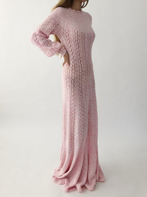 1960s Marble Light Pink Knit Dress - S