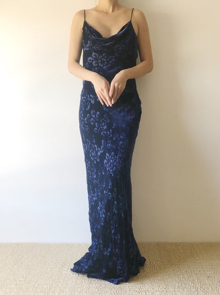 1980s Blue Velvet Devore Gown - M