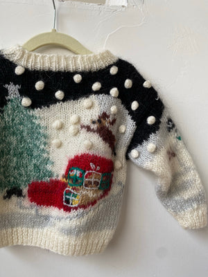 Vintage Toddler Christmas Mohair Sweater - 12M-3T