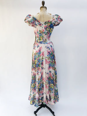 1930s Cotton Floral Print Gown - XS