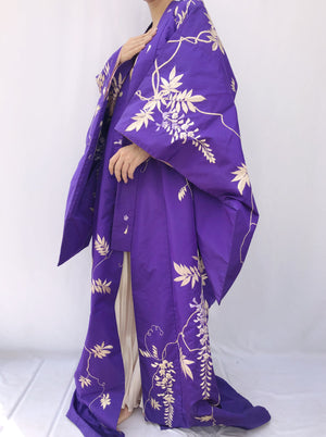 Antique Purple Silk Kimono with Embroidery - One Size