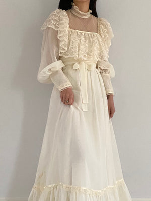 1970s Puff Sleeves Cotton Dress - S/M