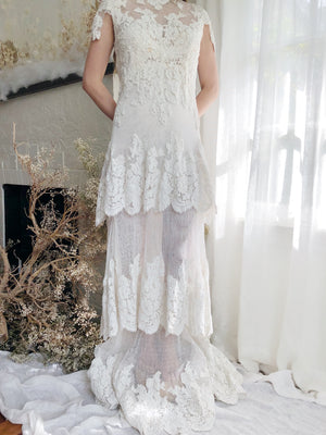 Vintage Lace Tiered Gown - XS