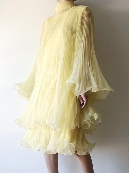 1960s Yellow Pleated Trapeze Dress - S/M