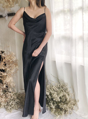 Black Silk Bias Cut Silk Long Dress - S/M