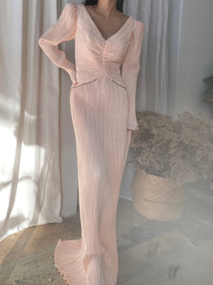 1980s Blush Micro Pleated Dress - M/8