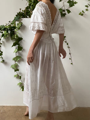 Antique Batiste Embroidered Dress - S