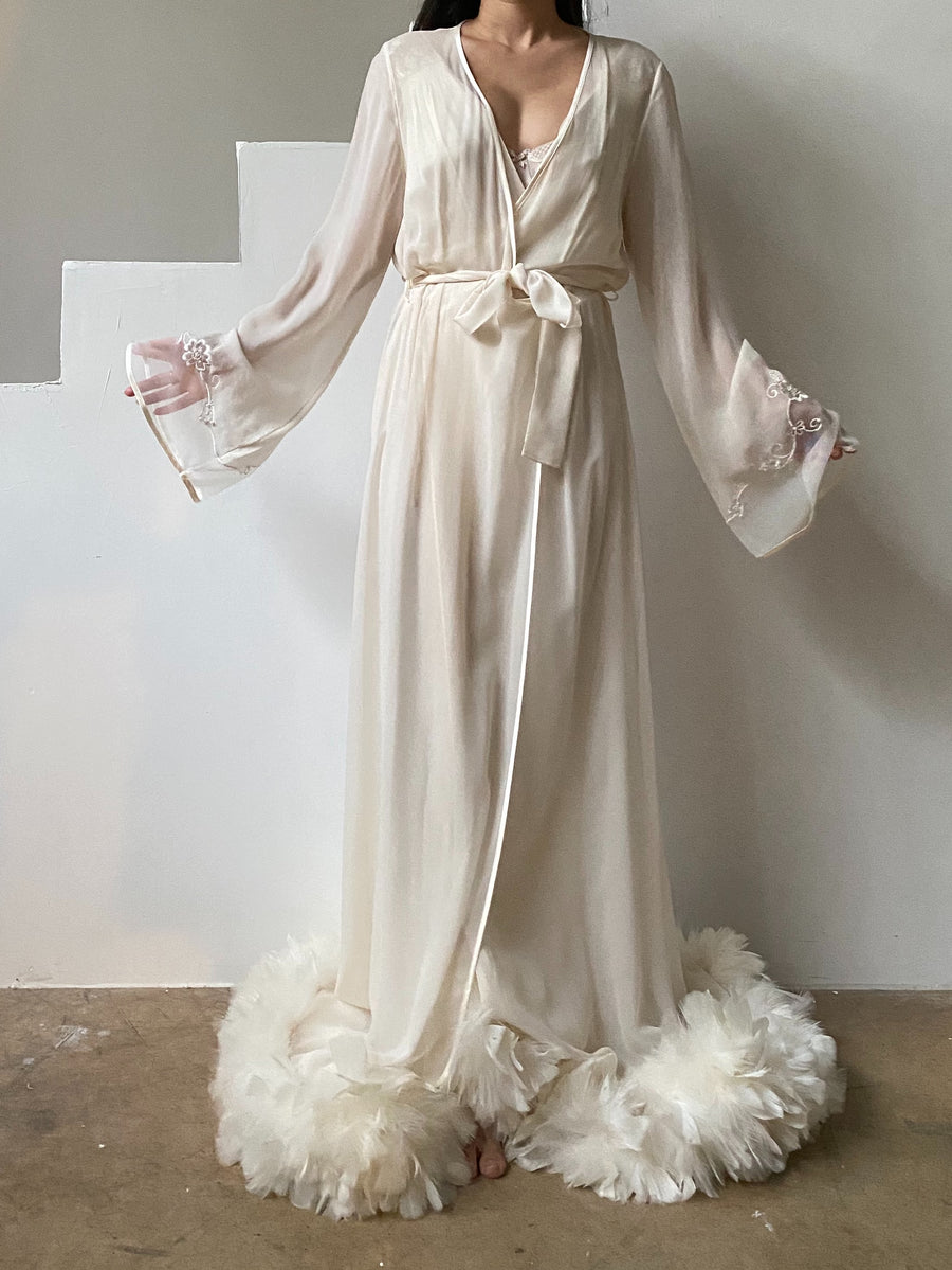 Vintage Silk Feather Dressing Gown - OSFM