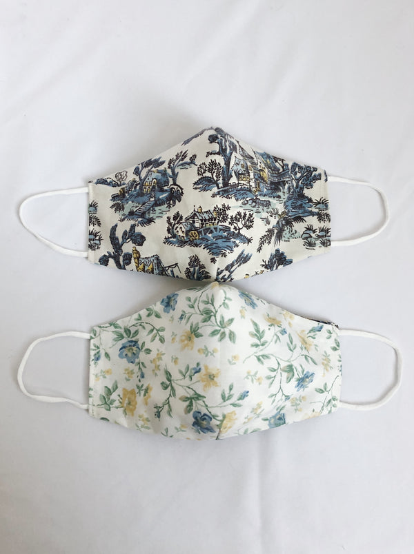2-in-1 Reversible Blue Toile Linen/Cotton Face Mask