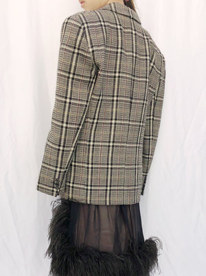 Vintage Plaid Tweed Blazer Jacket - M/L