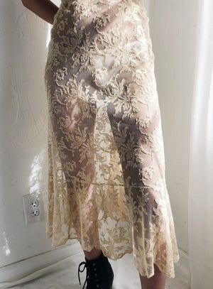 1930s Sheer Ecru Lace Slip Dress - S