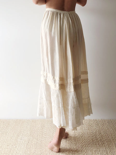 Antique Silk and Valenciennes Lace Skirt - XS