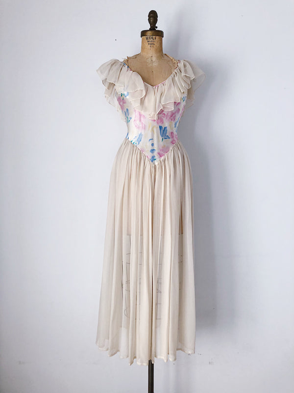Vintage Silk Floral Ruffled Collar Sheer Dress - XS